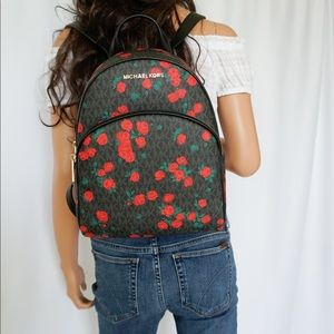 Michael Kors Abbey MD Backpack MK Black Rose Red